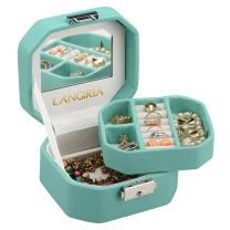 LANGRIA Lockable Jewelry Box, Small Travel Jewelry case/Organizer with Mirror, Octagonal Shape, Compact Size, Makeup and Accessories Storage Organizer (Pale Green)