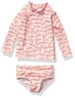 Amazon Essentials Baby Girls' UPF 50+ 2-Piece Long-Sleeve Rash Guard Set