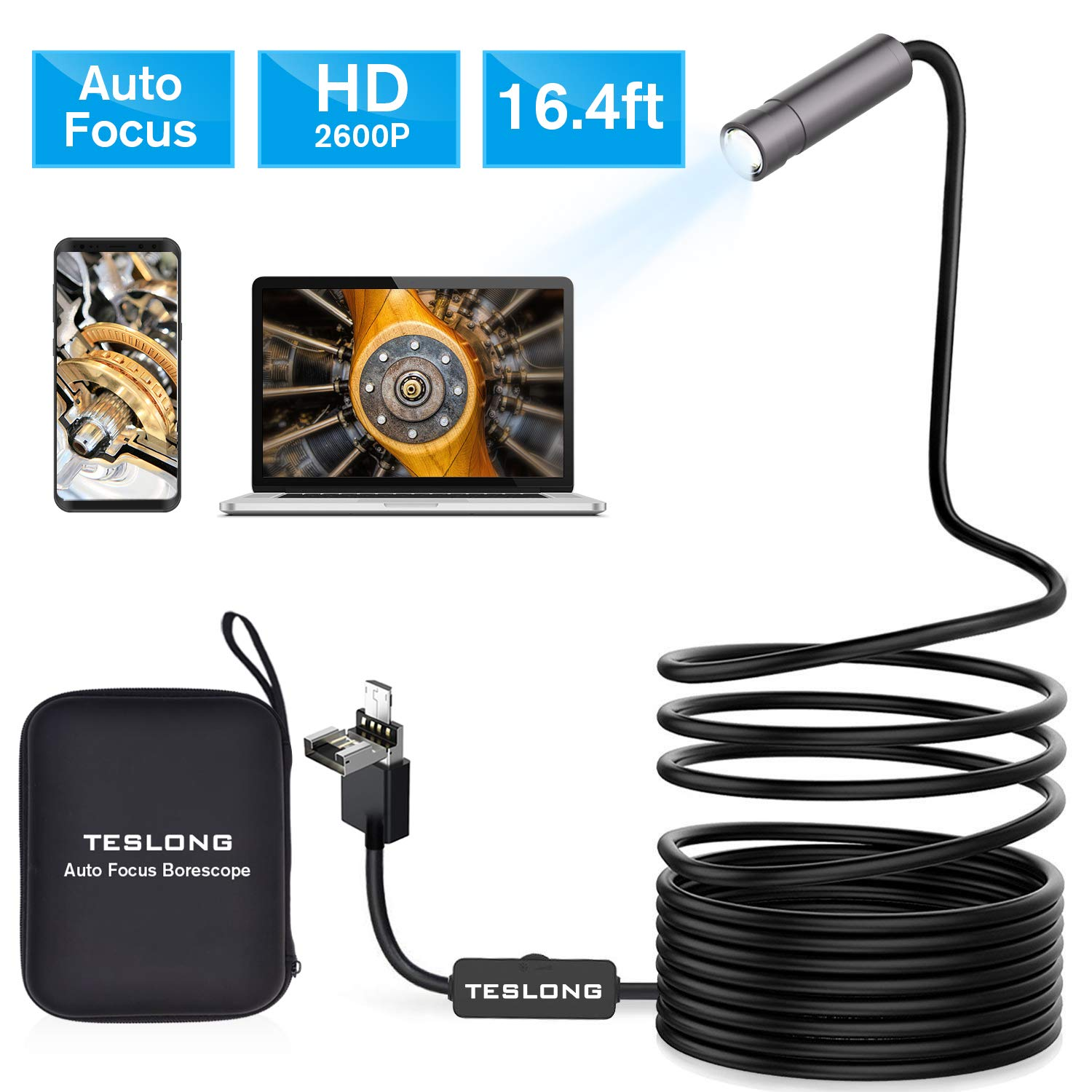 Auto Focus Inspection Camera, Teslong 5.0 Megapixels Semi-Rigid Borescope Endoscope Camera with Carrying Case for Android, Windows & MacBook Device (16.4ft/ 5m)