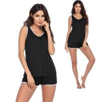 Ekouaer Women's Pajama Set Sleeveless Sleepwear Soft Button Down Pj Set Top and Shorts S-XXL