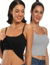 Tank Tops for Women Basic Camisole with Shelf Bra Adjustable Strap Layering Undershirt Sleeveless Summer Top