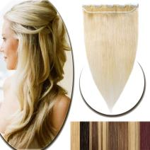"100% Real Hair Extensions Clip in Remy Human Hair 20"" 50g One-piece 5 Clips Long Straight Hair Extensions for Women Wide Weft Soft Silky #60 Platinum Blonde"