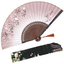 "OMyTea 8.27""(21cm) Women Hand Held Silk Folding Fans with Bamboo Frame - with a Fabric Sleeve for Protection for Gifts - Chinese/Japanese Style Butterflies and Morning Glory Flowers Pattern (Brown)"