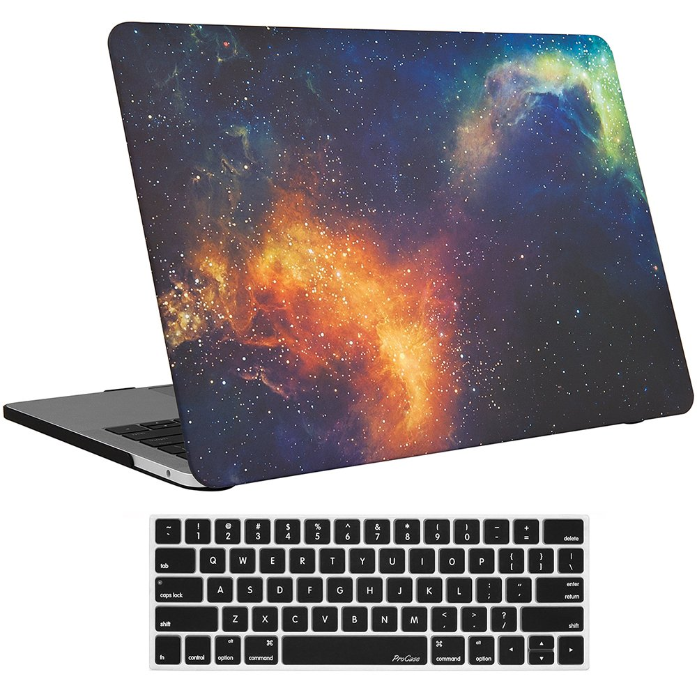 """ProCase MacBook Pro 15 Case 2019 2018 2017 2016 Release A1990/A1707, Hard Case Shell Cover and Keyboard Cover for MacBook Pro 15"""" (2019/2018/2017/2016) with Touch Bar & Touch ID -Galaxy Fire and Ice"""