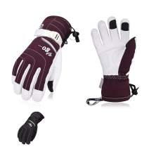 Vgo 2Pairs Touchscreen Goatskin Leather Winter Warm Skiing Gloves for Ladies', Waterproof Insert (Black&Purple, SF-GA2444FW)