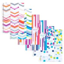 """Five Star Spiral Notebook, 2 Subject, College Ruled Paper, 100 Sheets, 9-1/2"""" x 6"""" Sheet Size, Assorted Colors, 6 Pack (73231)"""