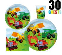 "Serves 30 | Complete Party Pack | Kids Construction Birthday Party Supplies | 9"" Dinner Paper Plates 