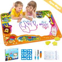 """Betheaces Water Drawing Mat Aqua Magic Doodle Kids Toys Mess Free Coloring Painting Educational Writing Mats Xmas Gift for Toddlers Boys Girls Age of 2,3,4,5,6 Year Old 34.5"""" X 22.5"""" in 6 Colors"""