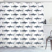 """Ambesonne Sea Animals Shower Curtain, Sharks Swimming Horizontal Silhouettes Powerful Dangerous Wild Life, Cloth Fabric Bathroom Decor Set with Hooks, 75"""" Long, Charcoal Grey"""