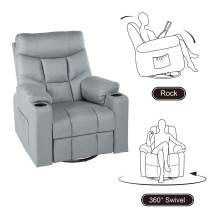 YODOLLA 360° Swivel & 140° Recling Electric Massage Recliner Sofa, Rocking Chair for Living Room Theater Seat Lounge,(Gray)