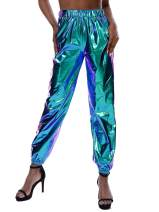 Amormio Women's Glossy Metallic Hip-Hop Sweatpant Holographic Iridescence Jogger Pants Tapered Pant with Pockets