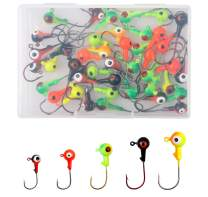 JSHANMEI Fishing Lures Jig Heads with Double Eyes Ball Head, Sharp Fishing Hooks for Bass Trout Freshwater Saltwater Tackle Box