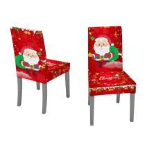 PHABULS 2 or 4 Pack Cute Cartoon Santa Claus Chair Cover Removable Washable Stretch Chairs Slipcovers for Christmas Home Party Decoration (2 Pack)
