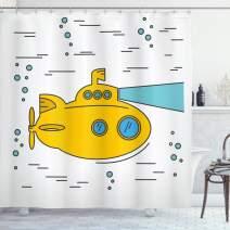 "Ambesonne Yellow Submarine Shower Curtain, Ocean Nautical Adventure Underwater Bubbles Porthole Cartoon Kids, Cloth Fabric Bathroom Decor Set with Hooks, 84"" Long Extra, White Yellow"