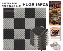 """Acepunch 16 Pack BLACK AND GRAY Egg Crate Convoluted Acoustic Foam Panel Studio Soundproofing Wall Tiles Sound Insulation 19.6"""" x 19.6"""" x 1.2"""" AP1052"""