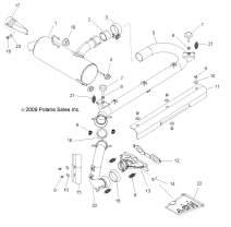 Polaris Weld-Headpipe, Powder Black, Genuine OEM Part 1261851-489