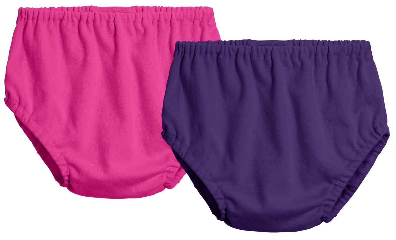 City Threads 2-Pack Baby Girls' and Baby Boys' Unisex Diaper Covers Bloomers Soft Cotton, Hot Pink/Purple, 6/9 m