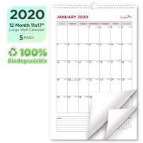 EcoEarth Biodegradable 11x17 Inch Vertical Hanging Wall Calendar (5 Pack), 2020 Calendar Year Monthly Calendar, Classic Art Design