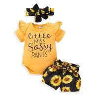 Newborn Sunflower Outfit Ruffle Sunflower Romper Bodysuit + Shorts Headband Baby Girl Summer Clothes