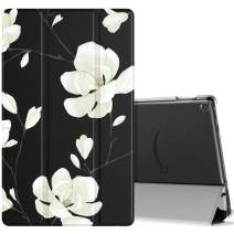 MoKo Case Fits All-New Fire HD 10 (7th Generation and 9th Generation, 2017 and 2019 Release), Smart Shell Stand Cover with Translucent Frosted Back for Fire HD 10.1 Inch - Black & White Magnolia
