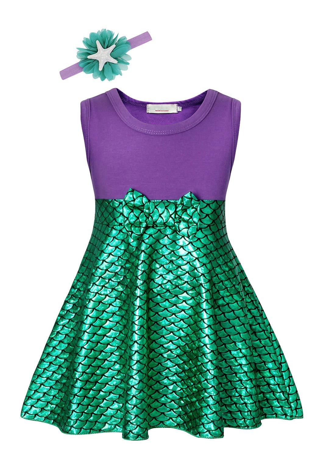 Cotrio Mermaid Costume Girls Princess Dresses Sleeveless Fish Scale Dress with Starfish Headband Halloween Cosplay Size 10 (6-7 Years, Green Purple, 140)