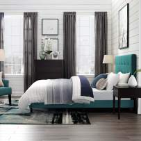 Modway Melanie Tufted Fabric Upholstered Twin Platform Bed in Teal