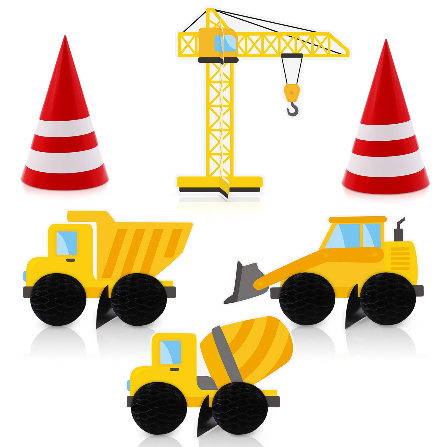 Construction Birthday Centerpiece Party Table Decoration Dump Truck Traffic Cones Signs Honeycomb Favors DIY Baby Shower Supplies