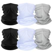 Zacca 6 Pieces Summer UV Protection Face Cover Neck Gaiter Bandana Breathable Cooling Face Cover