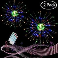 2 Pack LED Firework Lights, 120 LED 4 Color, Sound Activated Party Lights, 12 Modes, Battery Operate Remote Control Copper Wire Starburst Lights for Garden Patio Outdoor Christmas Decor