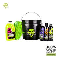 Voodoo Ride Interior and Exterior Essentials Kit   2 Wash Buckets (3.5 Gallon), Grit Guard, Microfiber Drying Towel, pH-Balance Car Soap (64oz), Wheel Cleaner, Tire Dressing, All-Purpose Detailer