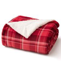 Bedsure Sherpa Plaid Throw Blanket for Sofa, Couch and Bed - Soft & Cozy - Tartan Plaid Fleece Blanket for Outdoor, Indoor, Camping, Gifts - Red, 50x60 inches