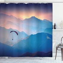 "Ambesonne Sports Shower Curtain, Paraglide Flying Over Majestic Mountains Morning Valley Sunrise Sports Freedom Theme, Cloth Fabric Bathroom Decor Set with Hooks, 70"" Long, Pink Blue"