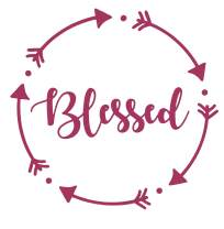 "WickedGoodz Die Cut 5"" Circle Dot Blessed Decal - Inspirational Bumper Sticker - Perfect Family Gift (Pink)"