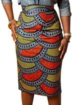 Joeoy Women's High Waist Vintage Printed Midi Pencil Skirt