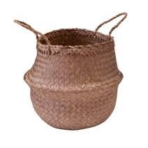 Modern Village Seagrass Plant Basket, Woven Planter Basket 11 Inch Natural Color