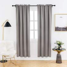 Anjee Bedroom Curtain Panel Thermal Insulated Blackout Curtains for Kids Room Darkening Window Drapes Rod Pocket 38 x 72 Inch Space Grey 2 Curtain Panels