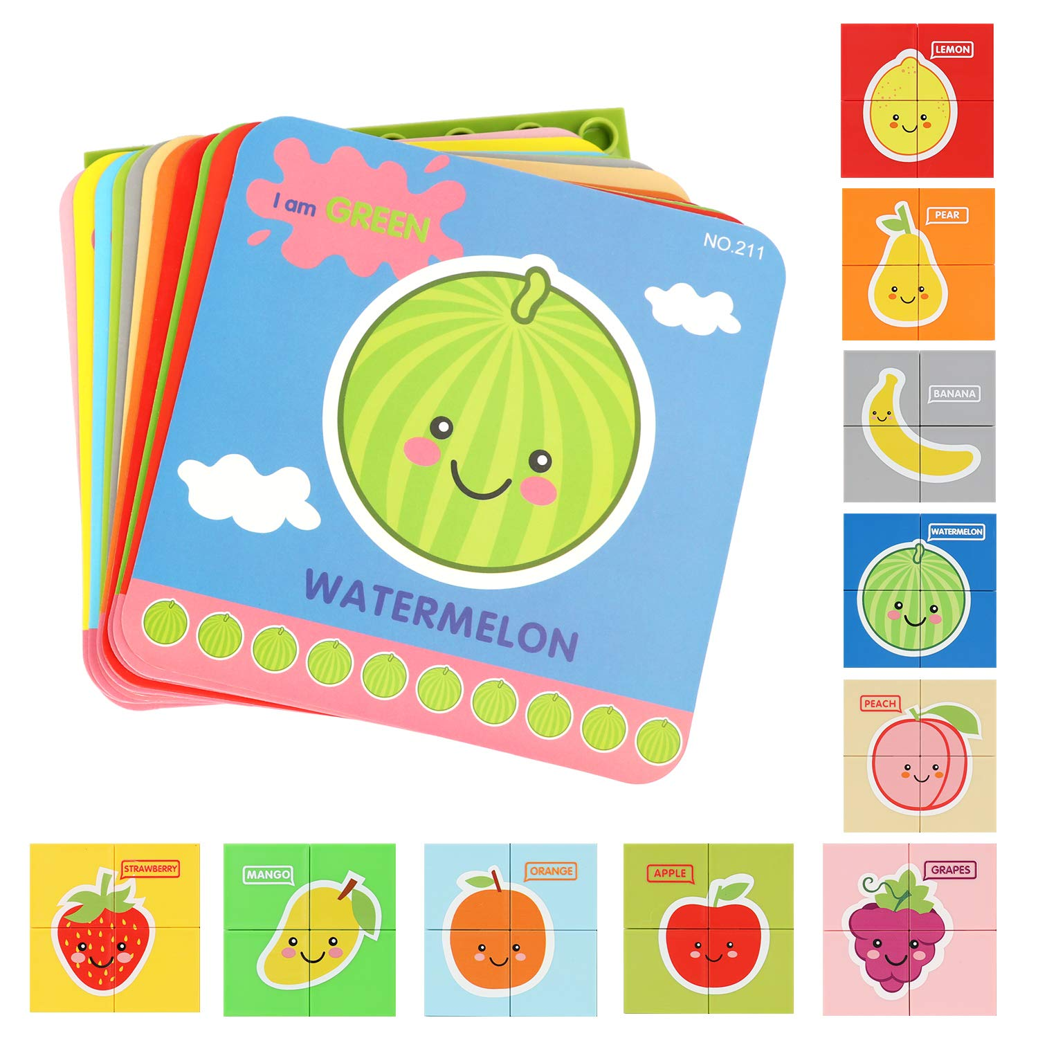 Wooden Jigsaw Puzzles with Learning Flash Cards, Wooden Block Puzzle Peg Board Set Educational Preschool Montessori Toddler Toys Gift for Boy Girl, Matching Canvas Bag, Colorful Vehicle Puzzle Set