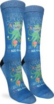Good Luck Sock Women's Ice Cream Octopus Crew Socks - Blue, Adult Shoe Size 5-9