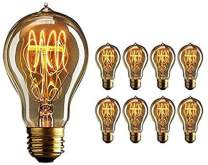 BULBMASTER 60 Watts Vintage Style Incandescent Edison Style Light Bulb 60W Classic Squirrel Cage Old Fashioned Filament Lamp Tear Drop Top E26 Base (Amber-A19, 8Pack)
