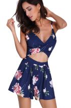 YOINS Rompers for Women Sleeveless Sexy V Neck Open Back Pleated Casual Playsuit