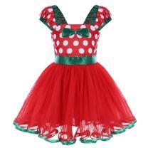 IWEMEK Girl Polka Dots Cosplay Birthday Princess Tutu Dress Up Fancy Christmas Ballet Leotard Costume with Headband
