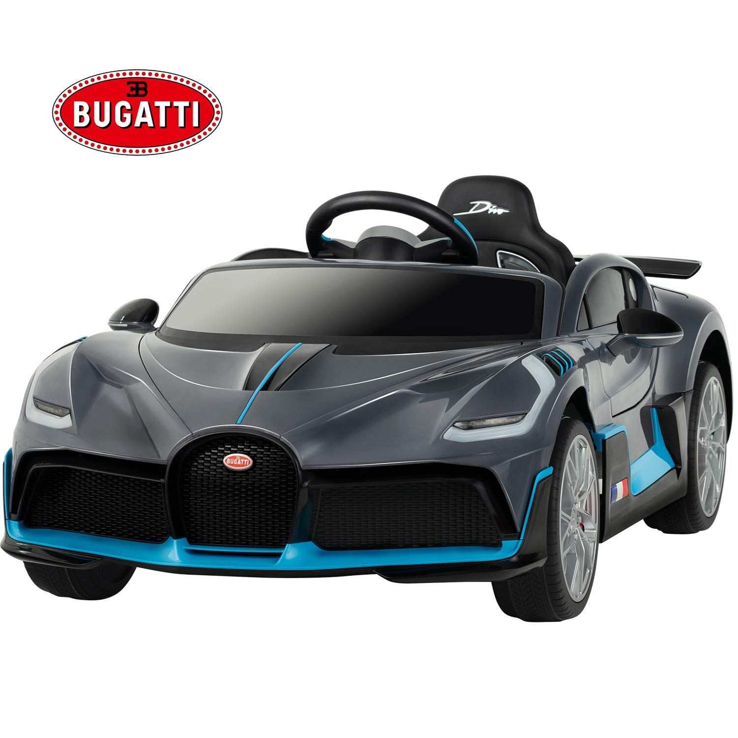 Uenjoy 12V Licensed Bugatti Divo Kids Ride On Car Electric Cars Motorized Vehicles for Kids, with Remote Control, Music, Horn, Spring Suspension, Safety Lock, Gray