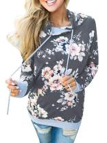 TEMOFON Womens Floral Hoodies Long Sleeve Drawstring Casual Sweatshirts Pullover Tops with Pockets S-XL