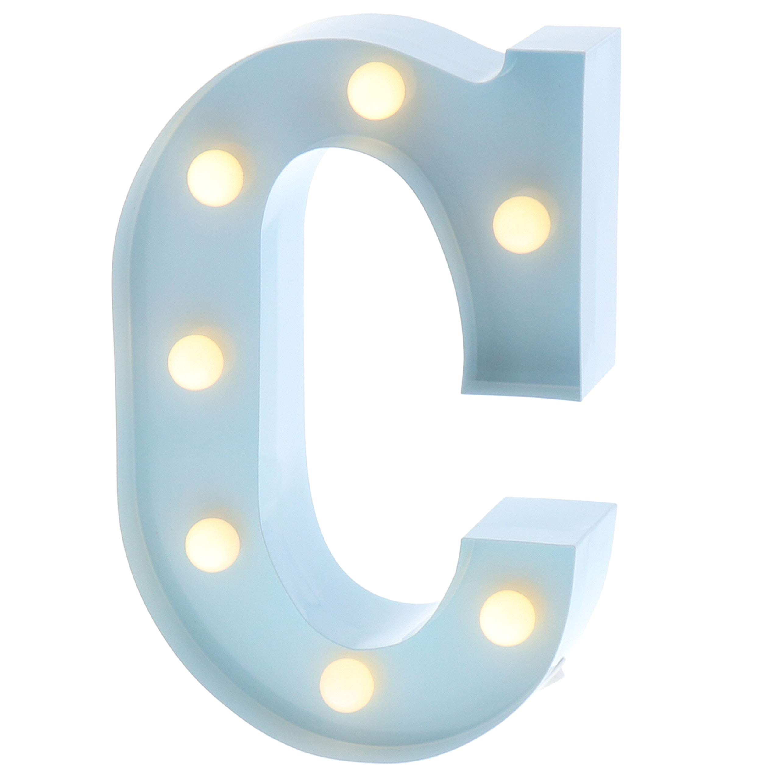 """Barnyard Designs Metal Marquee Letter C Light Up Wall Initial Nursery Letter, Home and Event Decoration 9"""" (Baby Blue)"""