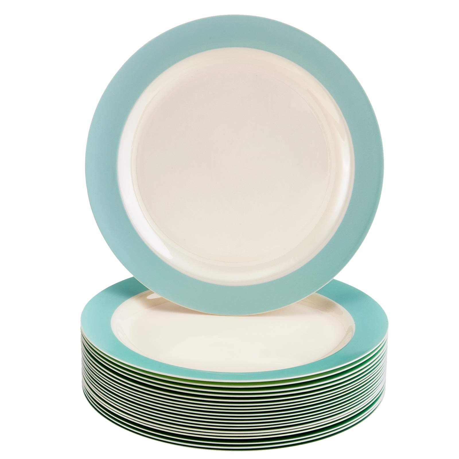 """DISPOSABLE DINNER PLATES - Heavy Duty Plastic Dinner Plates for Baby Showers - Elegant Fine China Look - Pastel Collection – Turquoise (20 PC - 10.25"""")"""