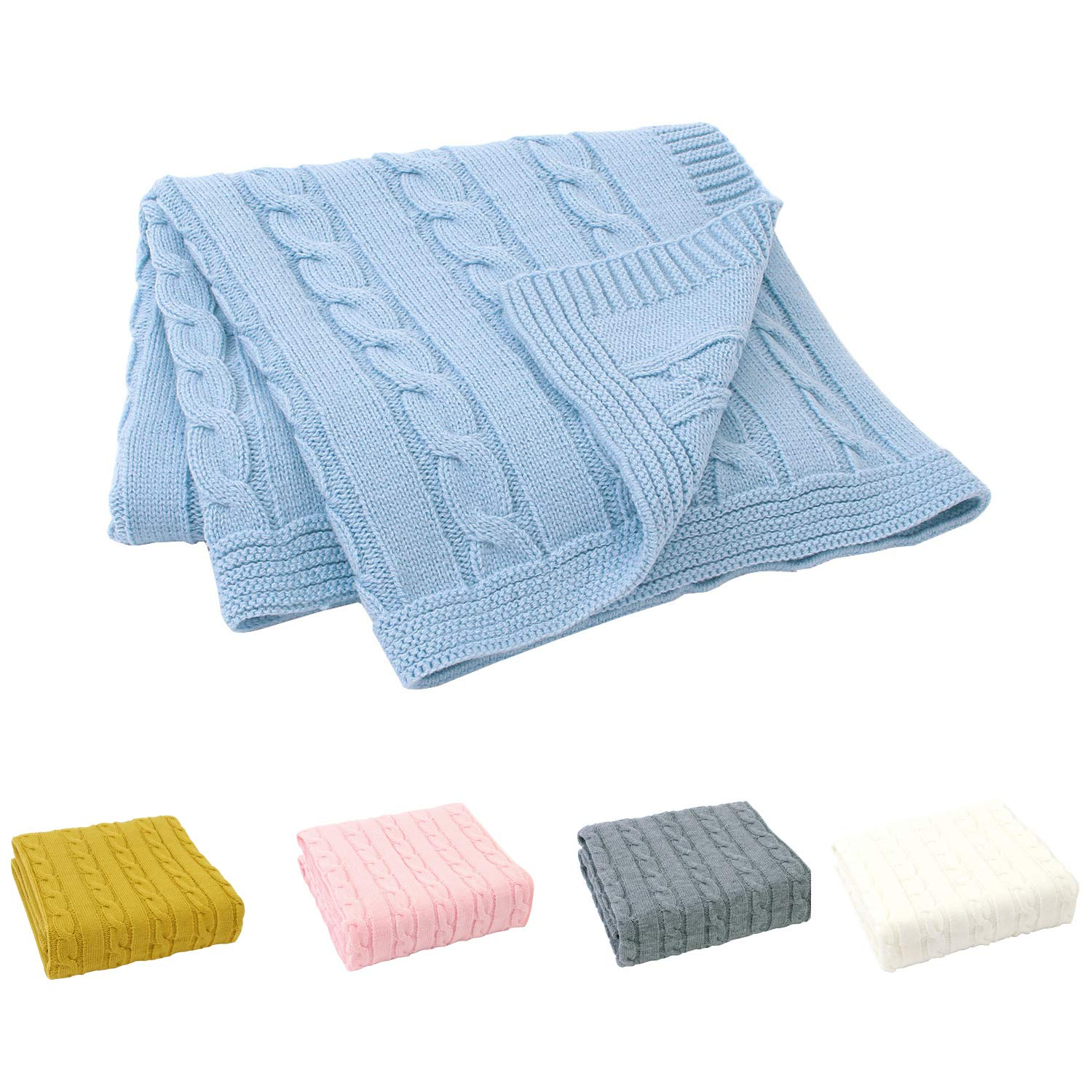 Sumery Su Baby Blanket Knit Soft Baby Toddler Blankets for Boy and Girls Size 30 x 40 Inch Blue