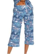 ENJOYNIGHT Women's Capri Pajama Pants Lounge Causal Bottoms Print Sleep Pants