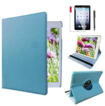 Ipad Case 360 Degrees Rotating Stand Leather Magnetic Smart Cover Case for Ipad 2/3/4 Generation Case with Bonus Screen Protector, Stylus and Cleaning Cloth (Blue Cover)