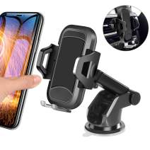 Car Phone Mount, HENKUR Cell Phone Holder for Car Dashboard Windshield Air Vent, Upgraded Phone Stand Strong Suction Compatible with iPhone 11 pro Max X Xs XR 8 7 6s Plus SE, Galaxy S7,8,9,10 (Black)