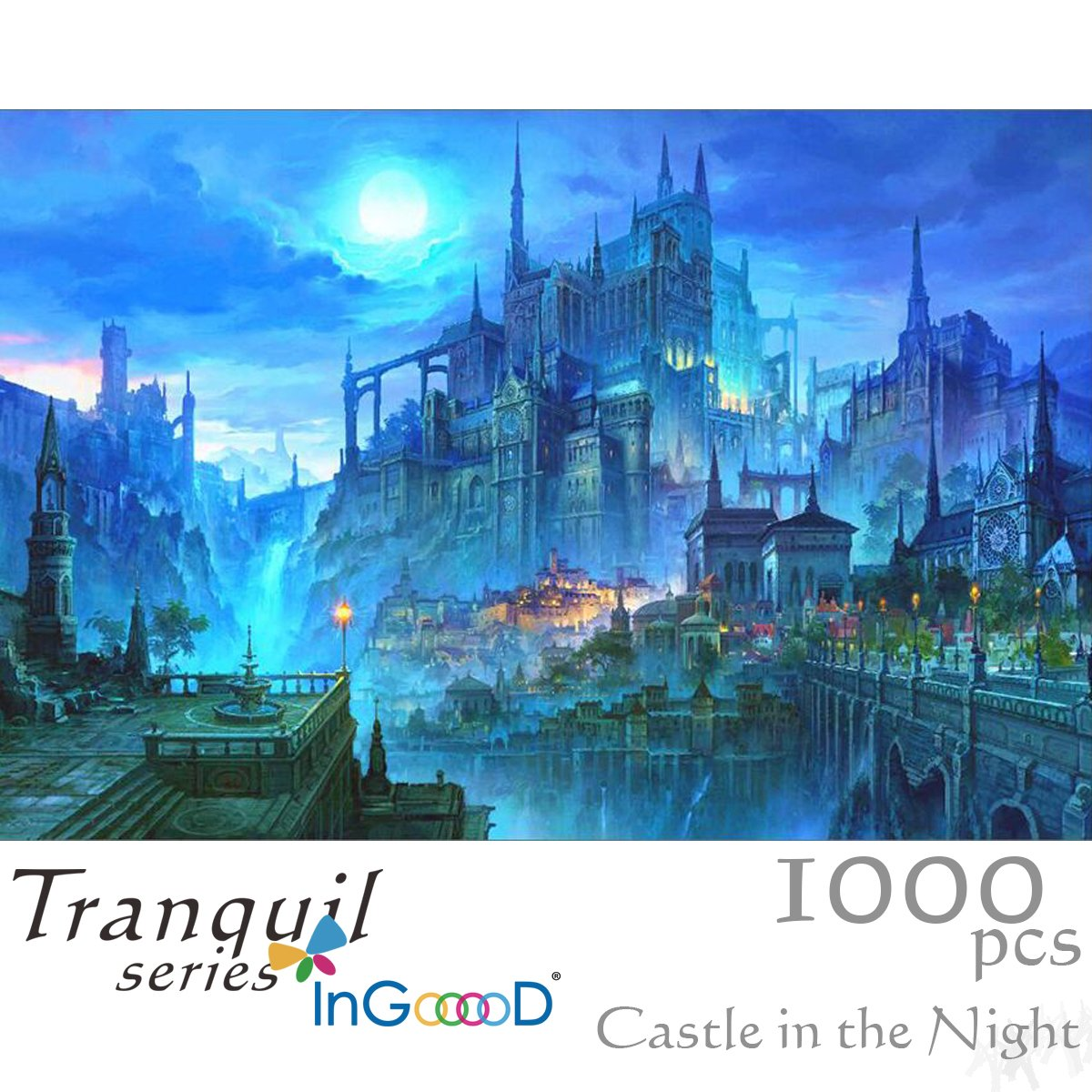 InGooooD- Tranquil Series- Castle in The Night- Basswood Jigsaw Puzzles 1000 Pieces for Adult